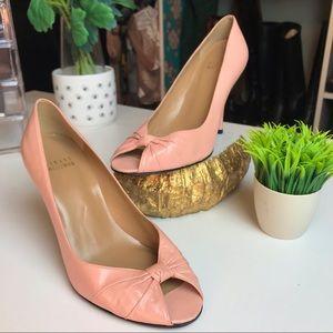 Stuart Weitzman Blush Pink Leather Peep Toe Pumps